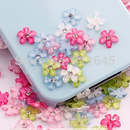 Wholesale Diy Phone Art - Free Shipping 200pcs 10mm cute 6 colors resin flower with rhinestone flatback cabochon for DIY phone,nail art decoration