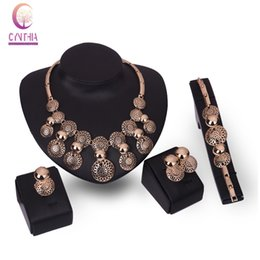 Wholesale Chunky Bridal Jewelry - African Chunky Woman Jewelry Sets For Women Crystal Bridal Gold Plated Hollow Necklace Earrings Bracelet Ring Party Jewelry Set