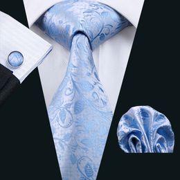 Wholesale Men Wedding Tie Handkerchief - Men Ties Adult Silver Neck Tie Set Cufflinks Pocket Square Wedding Business Red Necktie Handkerchiefs With Sky Blue Floral Pattern N-1186