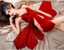 Wholesale Men Womens Underwear - Sexy Women Lingerie Babydoll Sleepwear Night Dresses G String Set Sexy Costumes Womens Underwear Nightgowns Red Nightdress M L