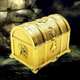 Wholesale Gift Jewelry Boxes Metal - Pirates of the Caribbean Size M Golden Treasure Box Fashion Metal Jewelry Case Trinket Alloy Box Perfect Gift
