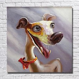 Wholesale Cartoon Pictures For Kids Room - Hand painted animal pet dog oil painting cartoon animal picture for kids room decoration large canvas art cheap