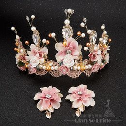 Wholesale Plant Photography - Luxurious Crown Women Crystal Floral Tiara Pearl Jewelry Golden Bridal Crown Hair Wear Wedding Photography Accessories Aide