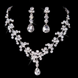 Wholesale Bridal Prom Jewelry - Luxury Crystal Rhinestone Necklace Jewelery Accessories Bridal Jewelry Crystals Necklace and Earrings Set for Prom Pageant Party Wedding