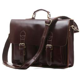 Wholesale Bag Briefcase Satchel Laptop - 2016 Hot Sale High Quality Vintage Genuine Cowhide Leather Designer Mens Bags Briefcases Laptop Bag Shoulder Bag 7105
