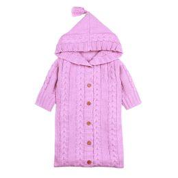Wholesale Wholesale Canvas Wraps - Wholesale- IMSHIE Solid Color Wrap Swaddle Blanket Knit Lovely Sleeping Bag Sack Stroller Wrap for 0-12 Months Newborns Babies
