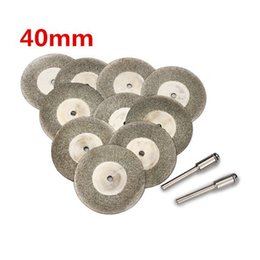 Wholesale Dremel Cut Wheels - 10pcs 40mm Diamond Grinding Wheel Cutting Disc with 2 Mandrels for Dremel Rotary Tool