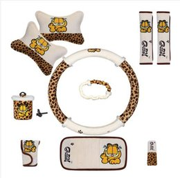 Wholesale Leopard Car Accessories - 10pcs unit Auto Accessories Garfield Leopard Cartoon Car interior Steering wheel cover pillow car-covers Universal Automotive Upholstery