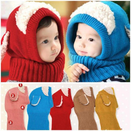 Wholesale Boys Crochet Hats Caps - Baby Hat Scarf One Piece Kids Winter Crochet Hats And Scarf Set Girls Boys All For Children Clothing and Accessories Kid Caps