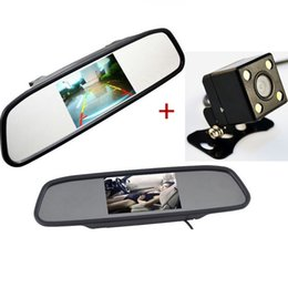 Wholesale Auto Camera Lcd - Auto Parking Assistance System 2 in 1 4.3 Digital TFT LCD Mirror Car Parking Monitor + 170 Degrees Mini Car Rear view Camera