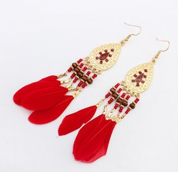 Wholesale Charm Discs - 2018 New arrival charm Summer new Bohemian disc feathers tassel earrings Long temperament fashion contrast color earrings 35