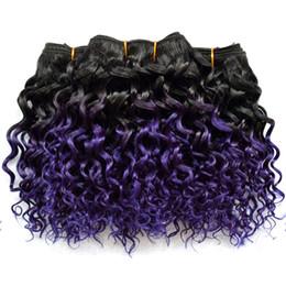 Мода Боб волна фиолетовый Ombre человеческих волос пучки кудрявый вьющиеся бразильские перуанские Малайзийские волосы плетет глубокие вьющиеся Ombre наращивание волос от