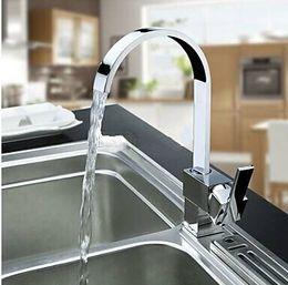 Wholesale double sink kitchen faucet - Wholesale New Hot Sale Solid Chrome Multi-Function Swivel Spout Kitchen Sinks Faucet Mixer Tap 4 Double Sinks