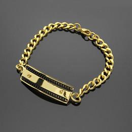 2019 buchstaben k armband Großhandel Außenhandel Titan Stahl Schmuck Verkauf K-Brief bilateralen Black Box Armband 18K Gold Korean Armband günstig buchstaben k armband