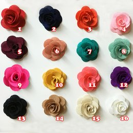 Wholesale Mini Felt Flowers - 15% off!new arrival 4cm Mini Burlap Flowers felt back,Fabric Flower, DIY, Hair Accessories Baby Headbands 16 color volume rose flower 100ps