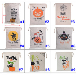 Wholesale Pumpkin Ornaments - 2017 Halloween Gift Bags Large Cotton Canvas Hand Bags Pumpkin,Devil,Spider Printed Halloween Candy Gift Bags Gift Free DHL XL-296