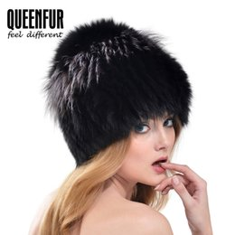Wholesale Real White Fox Hat - Wholesale-QUEENFUR Real Fox Fur Hat For Girls 2016 Winter Natural Silver Fox Fur Beanies Super Elasticity Female Genuine Knitted Fur Cap