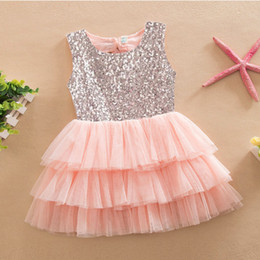 Wholesale Pink Cake Skirt - 2016 New Summer Girls Clothes Bowknot Sequins Dresses Lace Sleeveless Princess Cake Skirts Pink Red Beige Gray A5355