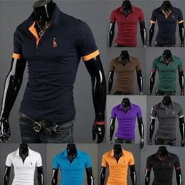 Wholesale White Stylish Shirt - Summer Autumn New Polo Shirt For Men Fawn Embroidery Luxury Casual Slim Fit Stylish T Shirt With Short Sleeve 6 Colors 4 Size