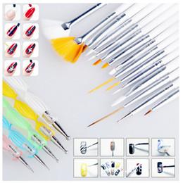Wholesale Professional Nail Art Designs - 20pcs set Art Design Painting Tool Pen Polish Brush Set Kit Professional Nail Brushes Styling Nail Art tools