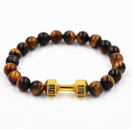 Wholesale Tigers Eye Beads Quality - hot sale wholesale 8pcs  lot Metal Barbell High quality Tiger Eye Stone beads with Fitness fashion dumbbell charm bracelets