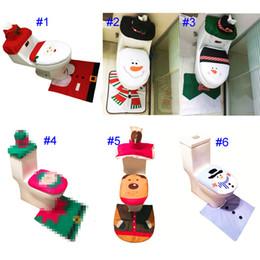 Wholesale Toilet Seat Covers Lids - 6 Style Santa Snowman Toilet Seat Cover Toilet Toilet Clothes Christmas Decorations Bath Mat Holder Closestool Lid Cover Cartoon Accessories