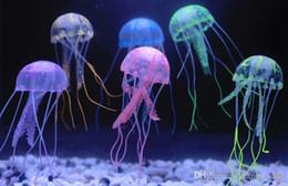 ornements de poissons gratuits Promotion Nouveau Mignon Fluorescent Effet Incandescent Méduse Aquarium Fish Tank Ornement Natation Piscine Bain Décoration Livraison gratuite