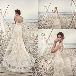 Wholesale Vintage Wedding Dress Covered Button - 2017 Wedding Dresses Eddy K Aires Mermaid Appliques Lace Gorgeous Sheer Neck and Back Cap Sleeve Vintage Lace Wedding Gowns Custom Made
