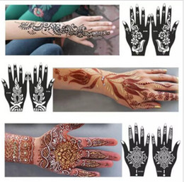 Wholesale Temporary Tattoo Stencils Free - Wholesale-New 1Pcs India Henna Temporary Tattoo Stencils For Hand Leg Arm Feet Body Art Template Body Decal For Wedding NB137 free shipping