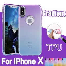 Wholesale Thinnest Iphone Shell - Soft TPU Cell Phone Cases With Hard Button Shell Ultra Thin Gradient Color Protective For IPhone X 6 6s 7 8 plus Dirt Resistant Back Covers