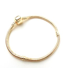 Wholesale Chains Bangles Gold Plated - Newest Women Gold Plated Basic Bracelet Snake Chain Bead Charm Jewelry Fashion Diy Fit Pandora Bracelets & Bangles wholesale snake bracelet