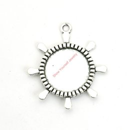 Wholesale Necklaces Photo Frame - 12pcs Antique Silver Plated Rudder Photo Frame Charms Pendants for Bracelet Jewelry Making DIY Necklace Craft 40x36mm