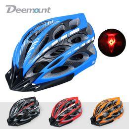 Wholesale Safety Cap Helmet - Wholesale-Deemount Bicycle Cycling Helmet MTB Road Bike Male Female Safety Cap Hat Integrally-molded 23 Vents Brim Mesh Net LED Flashlight