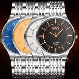 Wholesale Thin Waterproof Watches For Men - 30M Waterproof Thin Steel Belt Business Watch Analog 68 Quartz Movement Sport Watch for Woman Man Casual Dress Watches