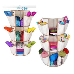 Wholesale Wall Cloth Pocket - 3-Tiers Multi Pocket 360 Rotating Beige Smart Carousel Organizer Hanging Cloth Shoes Bag Storage Holder Home Accessories