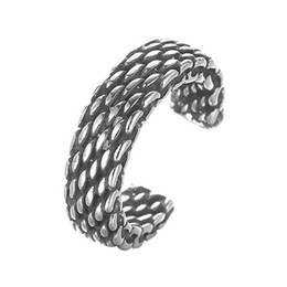 Wholesale Personalized Sterling Silver Rings - 5pcs lot Personalized Real Pure 925 Sterling Silver Wide Chain Knitting Ring Best Friends Vintage Accessories Wholesale China