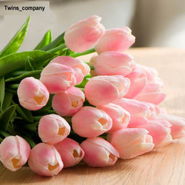 Wholesale Decoration Display - 21 colors Umiwe 30pcs PU Fake Artificial Silk Tulips Flores Artificiales Bouquets Party Artificial Flowers For Home Wedding Decoration