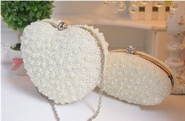 Wholesale Cheap Wedding Handbags - Amazing Cheap Full Double Heart Pearls Beaded Ivory Bride's Wedding Bags 2016 One Shoulder Crutch Evening Handbags