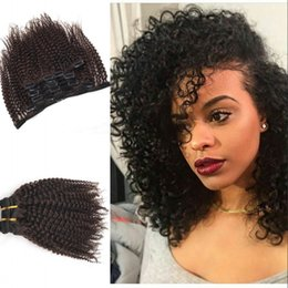 Wholesale Double Drawn Hair Extensions Brown - Peruvian Hair Dark Brown Clip In Hair Extensions Double Drawn Kinky Curly Clip In Hair FDSHINE