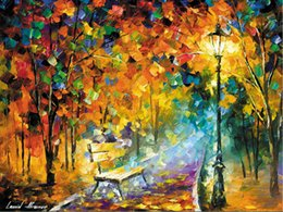 Wholesale Raining Wall Painting - Free shipping Leonid Afremov BENCH OF LOST,RAIN,Red bench,LESBOS ISLAND WALL Decor Prints Realistic Oil Painting Printed On Canvas -01