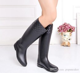 Wholesale Tall Boots For Women - new knee high women short rubber tall fashion rainboots Wellies rain boot water shoes for female cheap sale