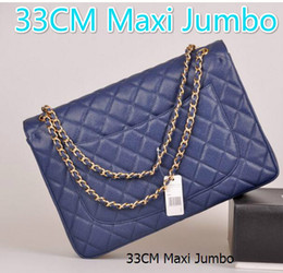 Wholesale White Velvet Ribbon - 58601 33CM Caviar Lambskin Maxi Jumbo Quilted Chain Navy Blue Caviar Leather Double Flaps Shoulder Bag Hot Maxi Jumbo Bag