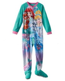 Wholesale Wholesale Footed Pajamas - 2016 Kids Clothing Girls princess onesie long sleeve romper footed sleeper pajamas sleepwear Pyjamas 8pcs lot
