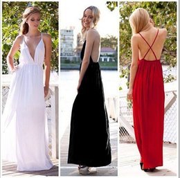 Wholesale Prom Dress Long Straps Colorful - Sexy Hot Sale Colorful Deep V-neck Spaghetti Long Evening Dress Criss Cross Strap Chiffon Prom Dress