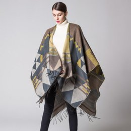 Wholesale Poncho Shawl Wrap Cape - Fashion Bohemian Tassel Faux Cashmere Winter Woman Poncho Scarf Female Blanket Wrap Wool Cape Women Pashmina Shawls and Scarves