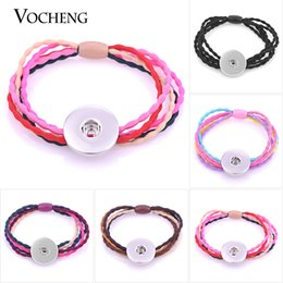 Wholesale Hair Ponytail Holders Jewelry - VOCHENG NOOSA Head Rope Ties Snap Jewelry Ponytail Holder 5 Colors Fit 18mm Charms NN-480