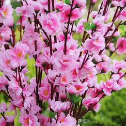 Wholesale Peach Wedding Bouquets - 2016 Elegant Peach Blossom Artificial Silk Flowers Elegant Cherry Christmas Home Ornament Bouquet Wedding Centerpieces Decorations Supplies