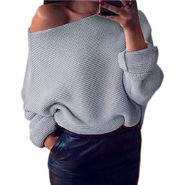 Wholesale Sweater Wool Women Plus - Warm Winter Women Sweaters Pullovers Female Sexy Off Shoulder Top Batwing Sleeve Sweater Solid Casual Femininos Plus Size F0119