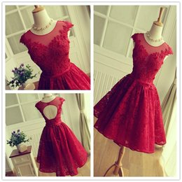 Wholesale Floral Water Picks - 2017 New Elegant Red Sheer Neck Homecoming Dresses Cap Sleeves Full Lace Tulle Applique Floral Party Cocktail Dresses Graduation Dresses
