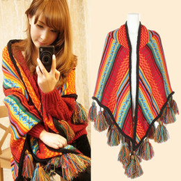 Wholesale Triangle Scarf Tassels - Fashion Women Bohemian Kintted Shawl And Scarves Winter Oversized Poncho Cape Coat Outwear Thick Tassel Woolen Triangle Shawl Wraps